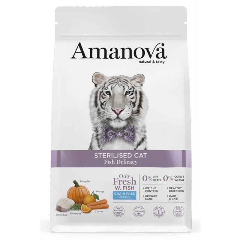 Сухой корм для кошек Amanova GF Sterilized с лакомой белой рыбкой 6 кг