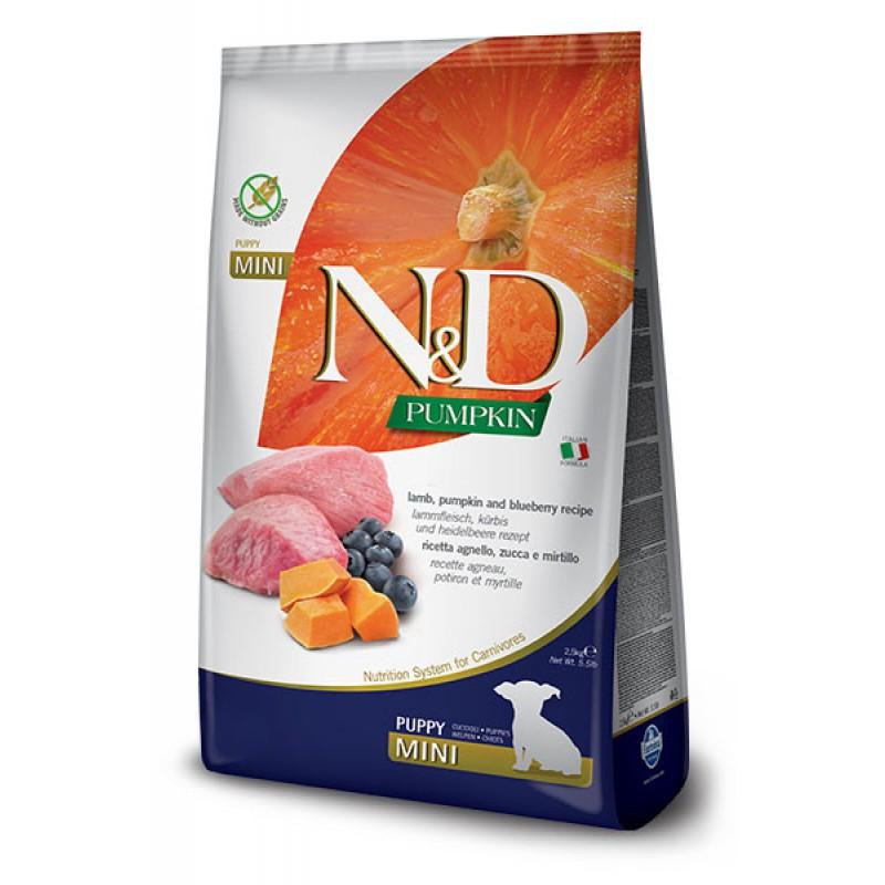 Сухой корм для щенков Farmina N&D Pumpkin Puppy Mini беззерновой с ягненком, черникой и тыквой 7 кг