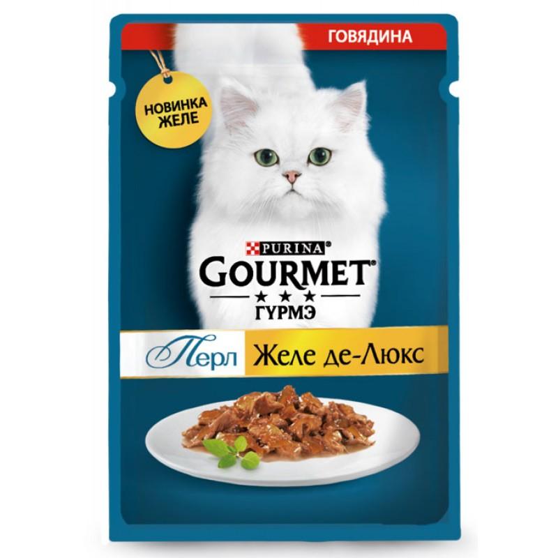 Влажный корм для кошек Gourmet Желе-де-Люкс с говядиной пауч 0,075 кг