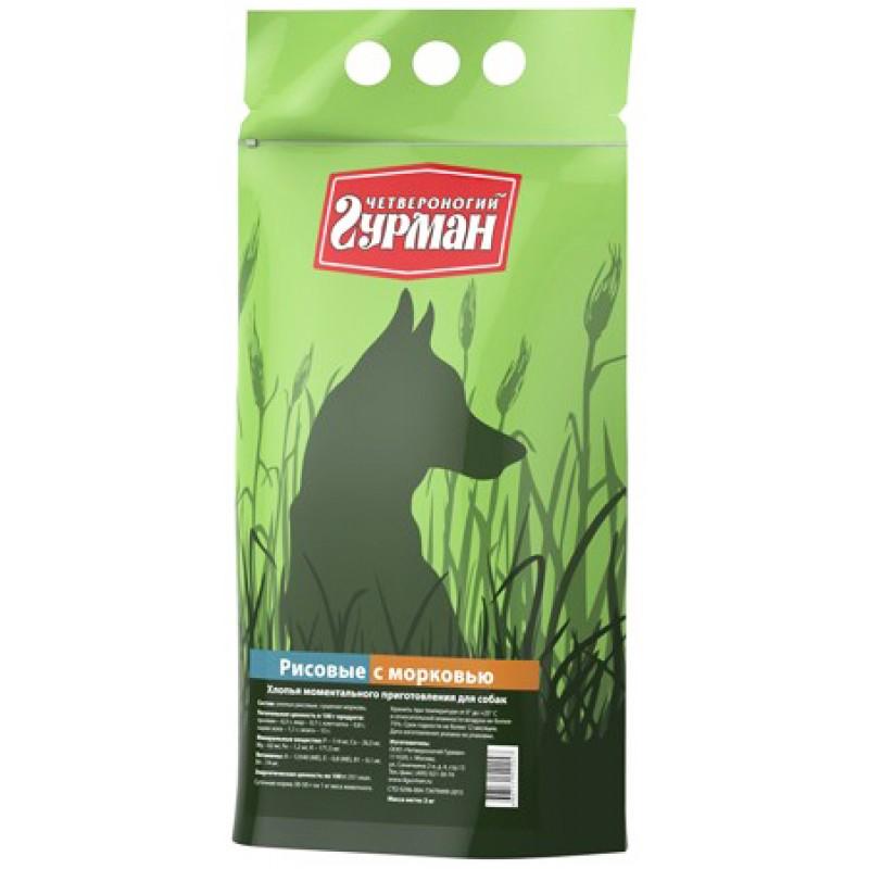 Каша для собак Четвероногий Гурман рисовая с морковью в пакете 3 кг