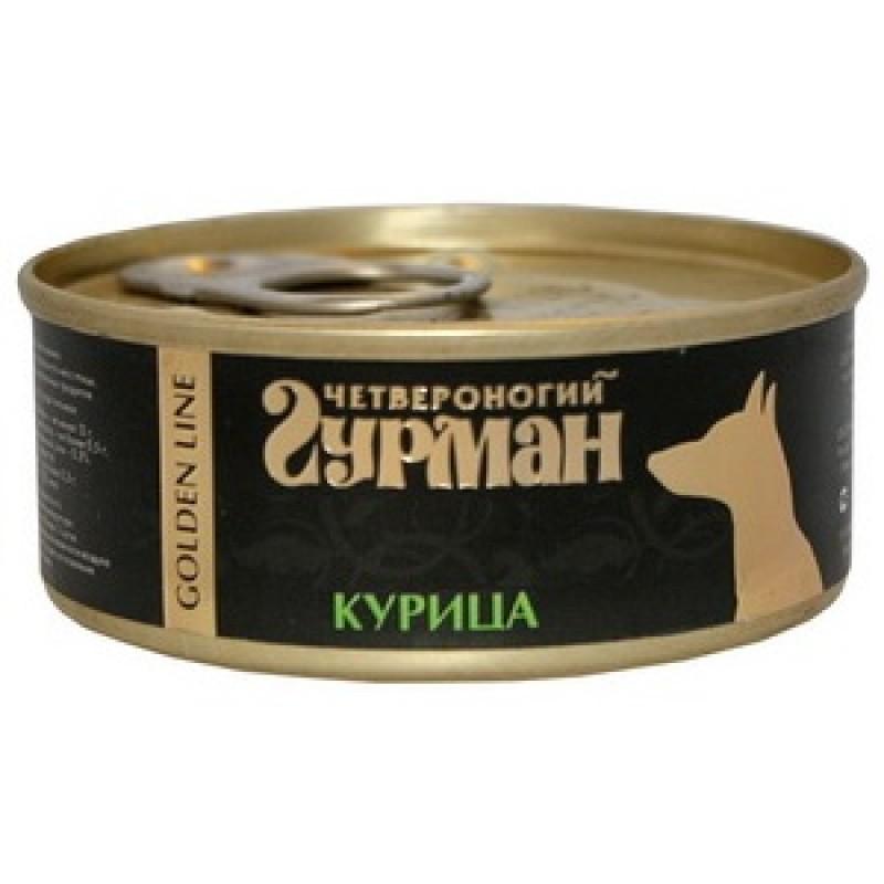 Влажный корм для собак Четвероногий Гурман Golden line Курица натуральная 0,1 кг