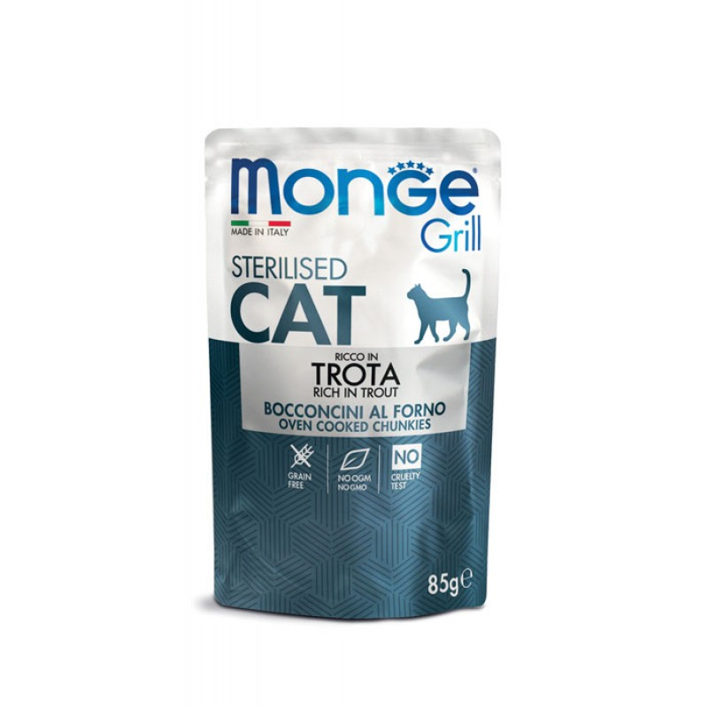 Влажный корм для кошек Monge Cat Grill Pouch для стерилизованных итальянская форель пауч 0,085 кг
