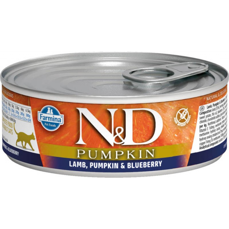 Влажный корм для кошек Farmina N & D Lamb, Pumpkin & Blueberry с ягненком, черникой и тыквой 0,08 кг