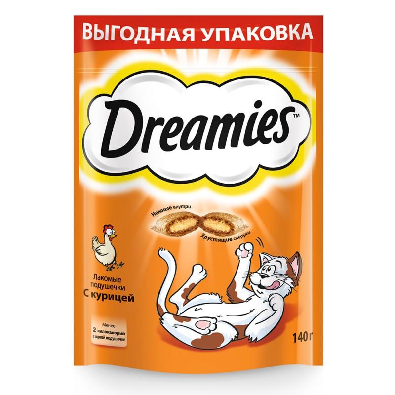 Лакомство для кошек Dreamies подушечки с курицей 0,14 кг