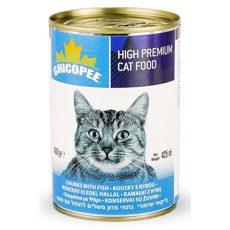 Влажный корм для кошек Chicopee Chunks с кусочками рыбы в соусе 0,4 кг