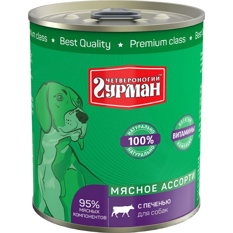 Влажный корм для собак Четвероногий Гурман Мясное ассорти с печенью 0,34 кг