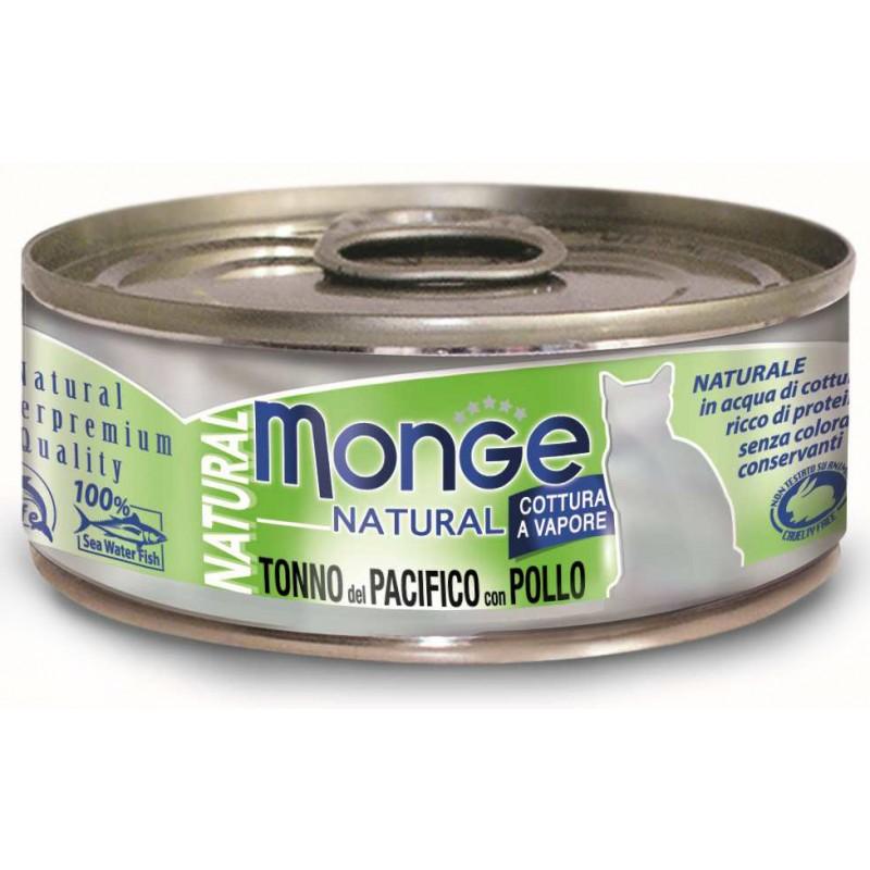 Влажный корм для кошек Monge Natural тунец с курицей 0,08 кг