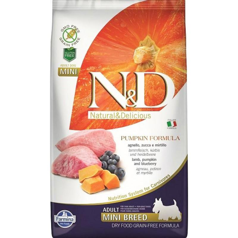 Сухой корм для собак Farmina N&D Pumpkin Adult Mini беззерновой с ягненком, черникой и тыквой 0,8 кг