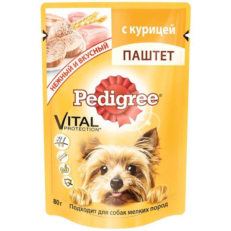 Влажный корм для собак Pedigree Паштет с курицей для мелких пород 24шт 0,08 кг