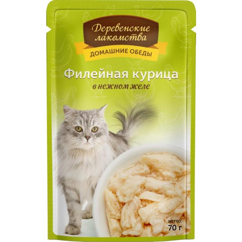Влажный корм для кошек Деревенские Лакомства Филейная курица в нежном желе 0,07 кг
