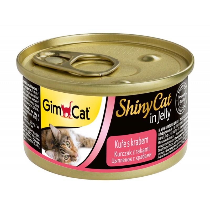 Влажный корм для кошек Gimpet ShinyCat цыпленок/крабы 0,07 кг