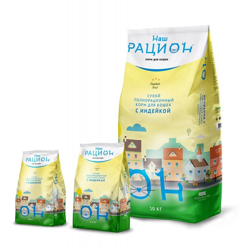 Сухой корм для кошек Наш Рацион С индейкой 10 кг
