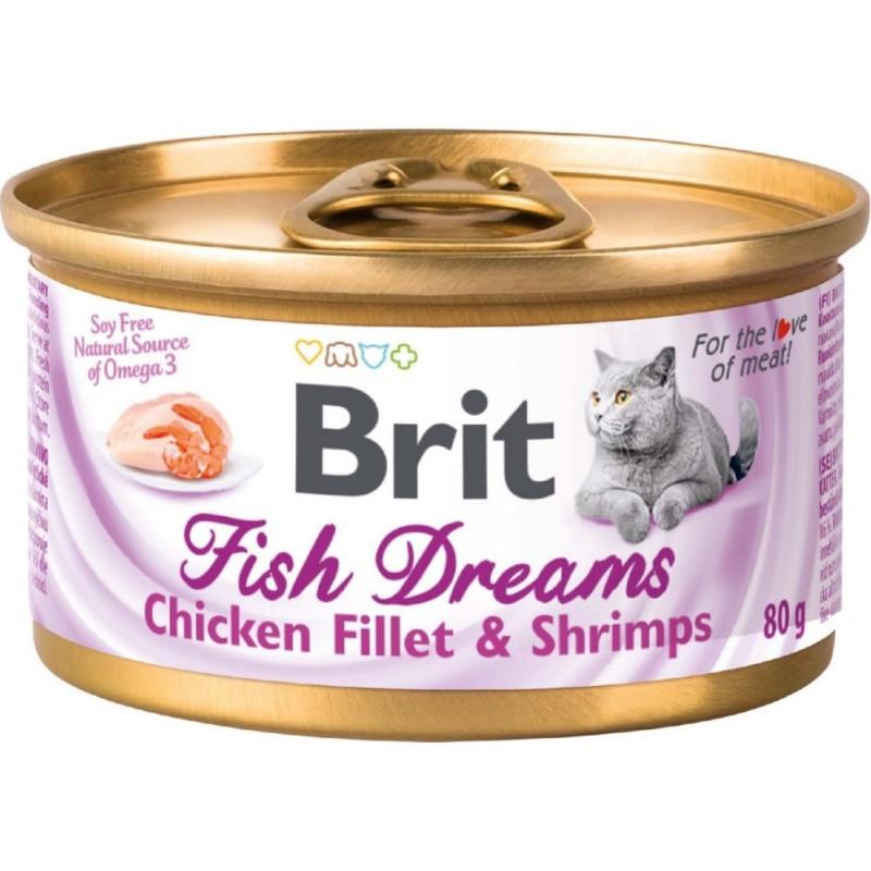 Влажный корм для кошек Brit Fish Dreams Куриное филе и креветки 0,08 кг