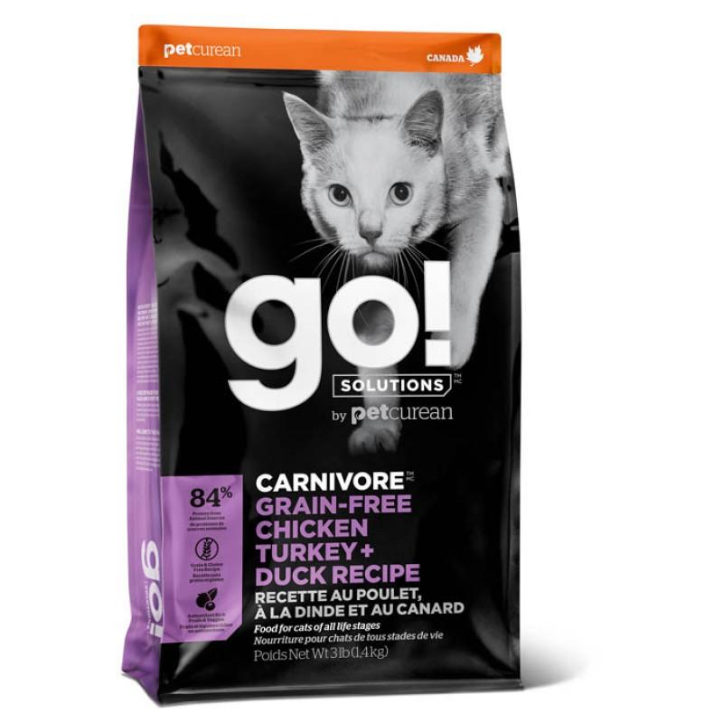Сухой корм для кошек Go! Carnivore GF Chicken, Turkey + Duck Recipe с 4 видами мяса 1,36 кг