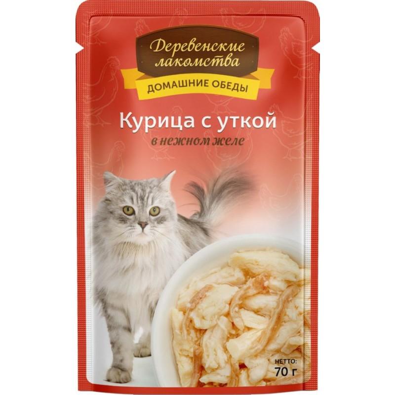 Влажный корм для кошек Деревенские Лакомства Курица с уткой в нежном желе 0,07 кг