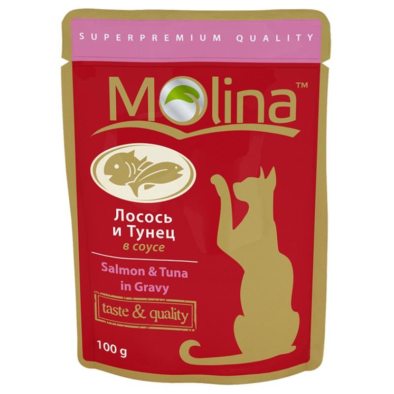Влажный корм для кошек Molina Лосось и Тунец в Соусе 0,1 кг