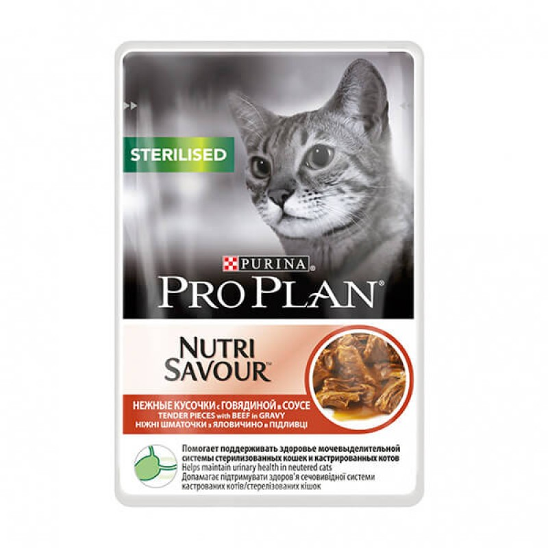 Влажный корм для кошек Purina Pro Plan NutriSavour Sterilised Feline with Beef pouch в соусе 0,085 кг