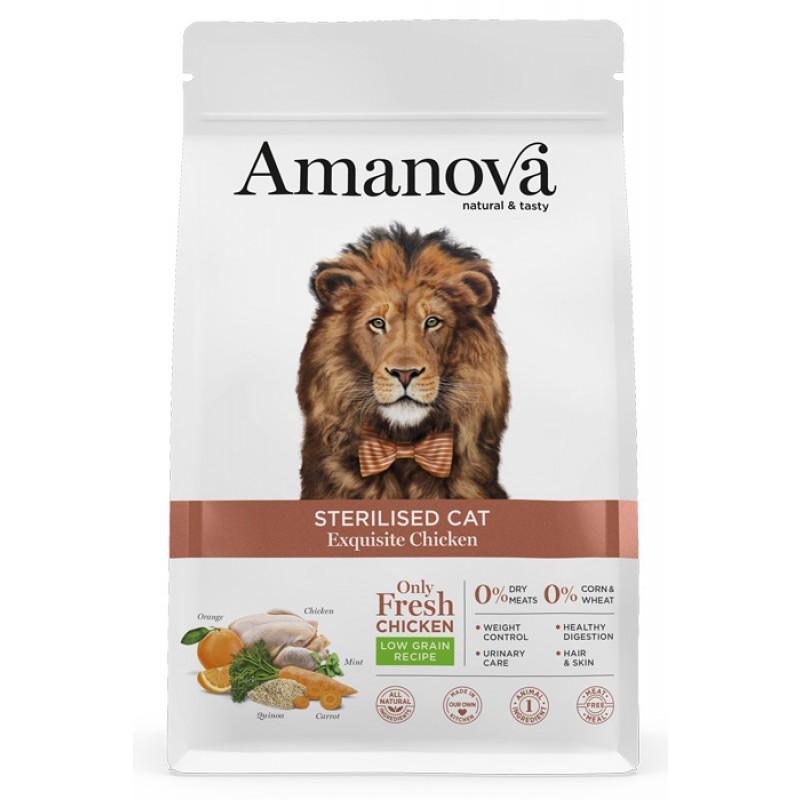Сухой корм для кошек Amanova Sterilized с изысканной курочкой 1,5 кг