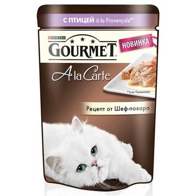 Влажный корм для кошек Gourmet A la Carte пауч Домашняя птица с баклажаном цукини и томатом а-ля Провансаль 0,085 кг