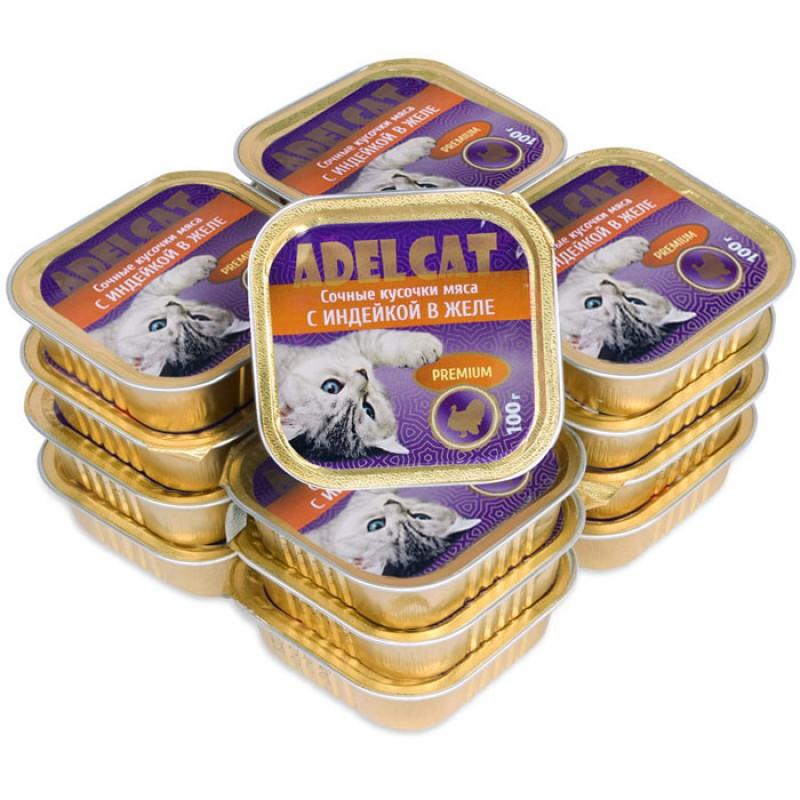 Влажный корм для кошек Adel Cat сочные кусочки мяса с индейкой в желе 0,1 кг