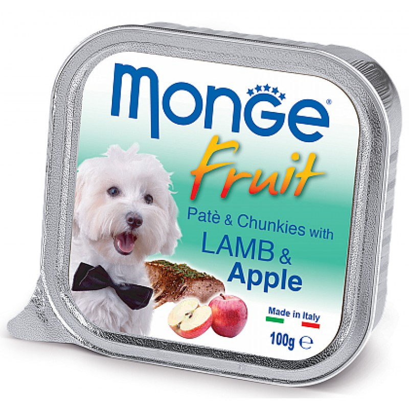 Влажный корм для собак Monge Fruit ягненок с яблоком 0,1 кг