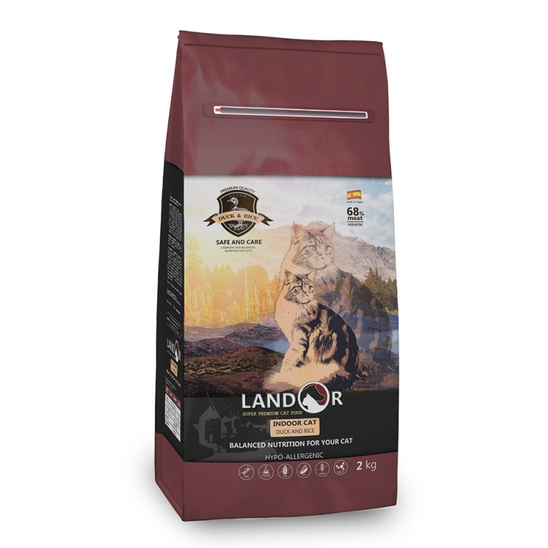 Сухой корм для кошек Landor для живущих в помещении с уткой и рисом полнорационный 2 кг