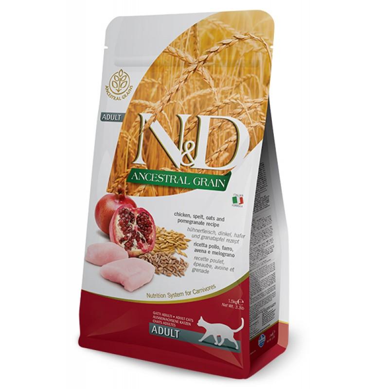 Сухой корм для кошек Farmina N&D Ancestral Grain Adult низкозерновой с курицей и гранатом 1,5 кг