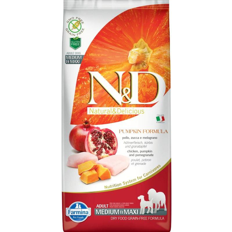 Сухой корм для собак Farmina N&D Pumpkin Adult Medium & Maxi беззерновой с курицей, тыквой и гранатом 2,5 кг