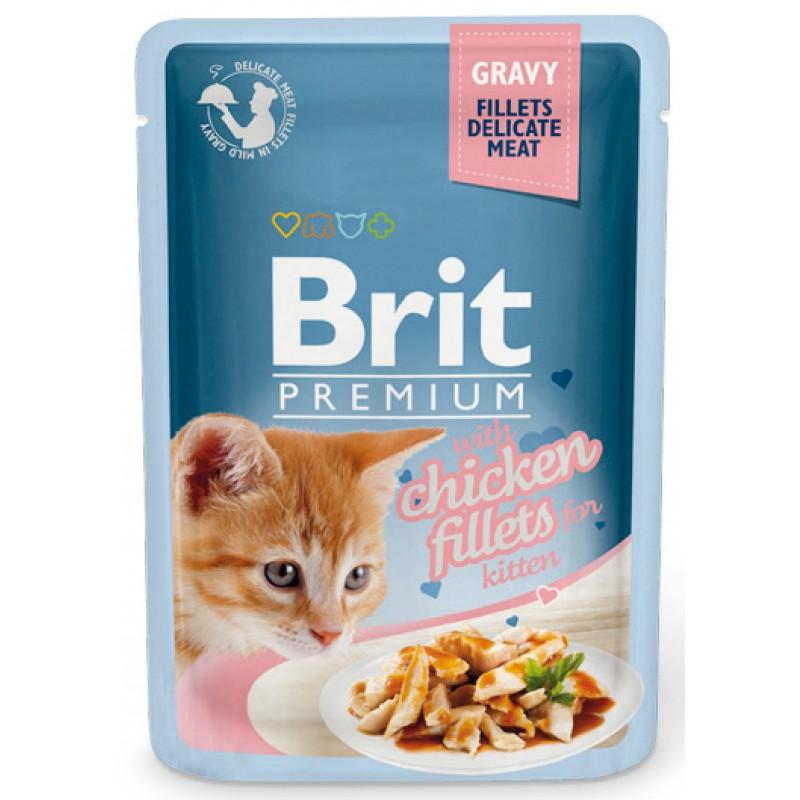 Влажный корм для котят Brit Gravy Chiсken Fillets For Kitten 0,085 кг