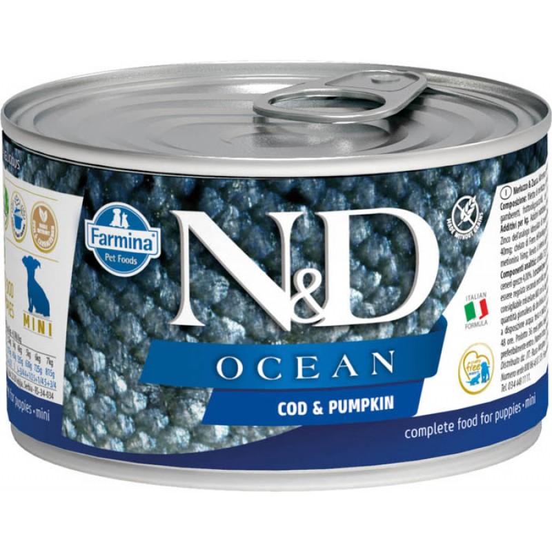 Влажный корм для щенков Farmina N & D Ocean Cod & Pumpkin Puppy Mini с треской и тыквой для маленьких пород 0,14 кг