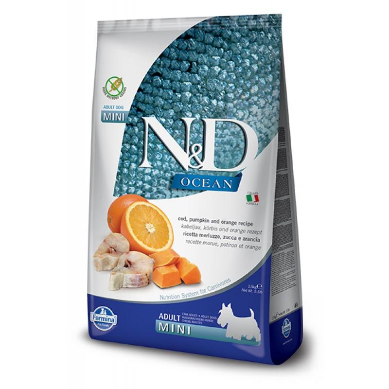 Сухой корм для собак Farmina N&D Ocean Adult Mini беззерновой с треской, апельсином и тыквой 0,8 кг