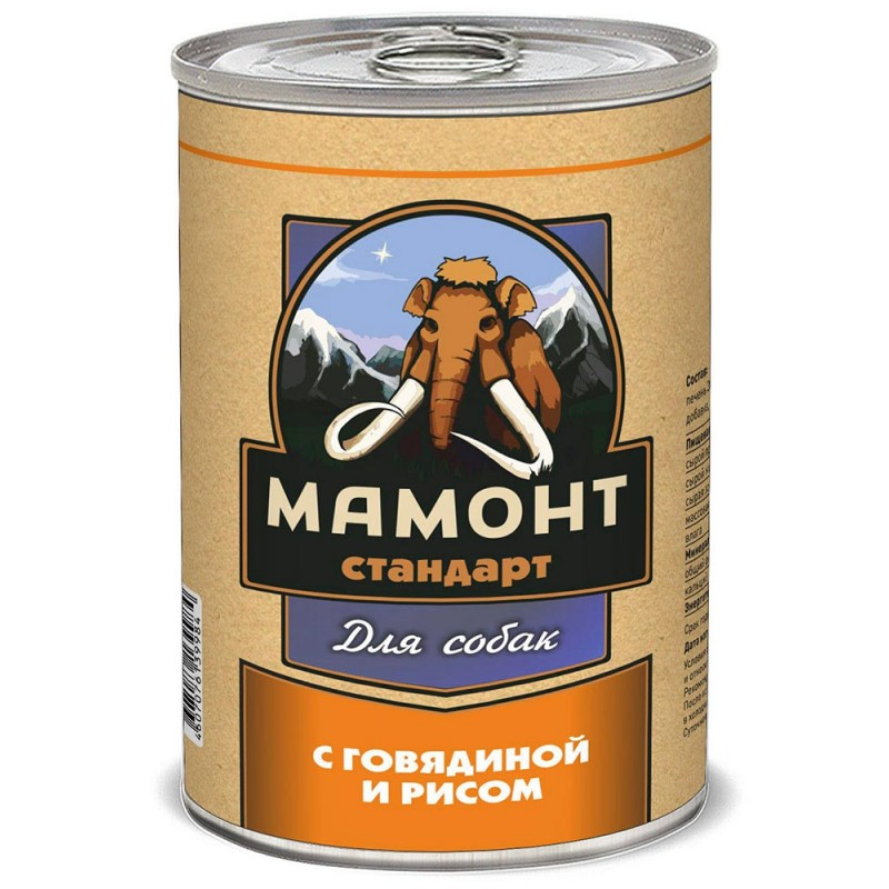 Влажный корм для собак Мамонт Стандарт Говядина с рисом 0,34 кг