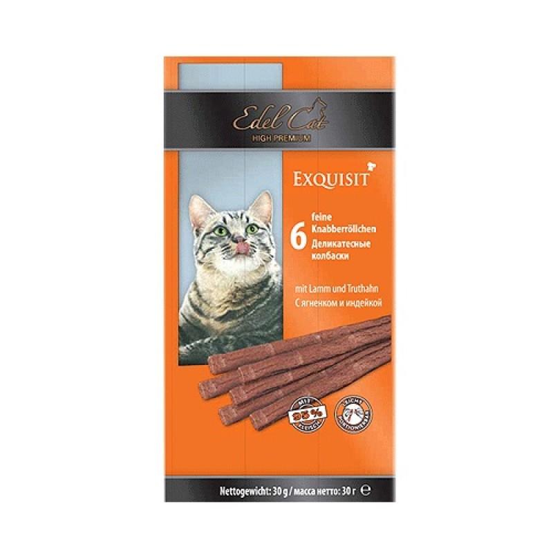 Лакомство для кошек Edel Cat с ягнёнком и индейкой жевательные колбаски 0,04 кг