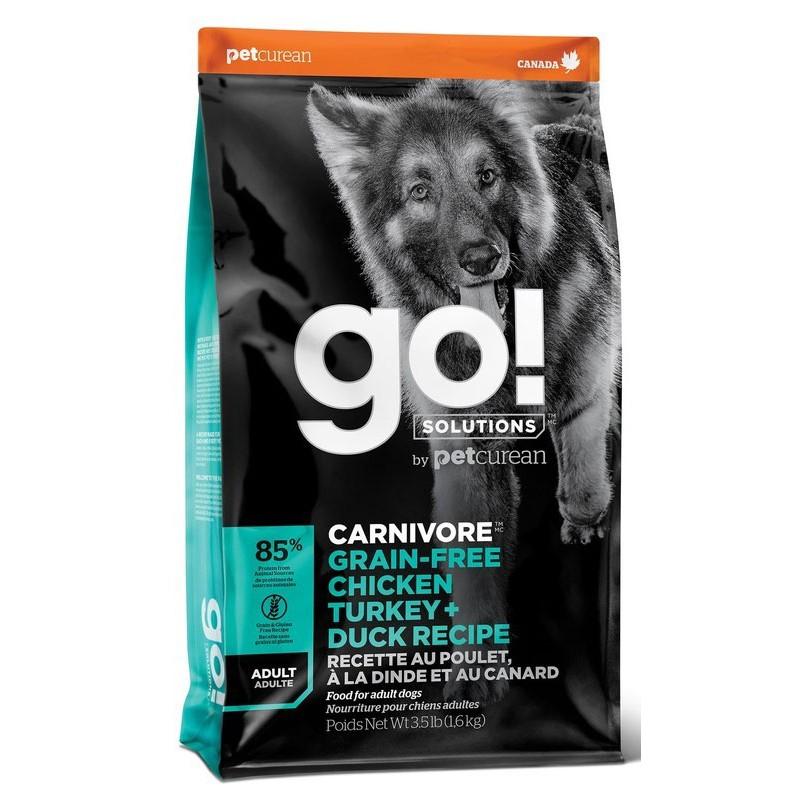 Сухой корм для собак Go! Carnivore GF Chicken, Turkey + Duck Recipe DF с 4 видами мяса 10 кг