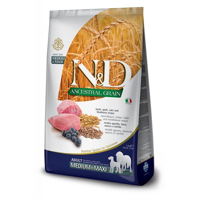 Сухой корм для собак Farmina N&D Ancestral Grain Adult Medium & Maxi низкозерновой с ягненком и черникой 2,5 кг