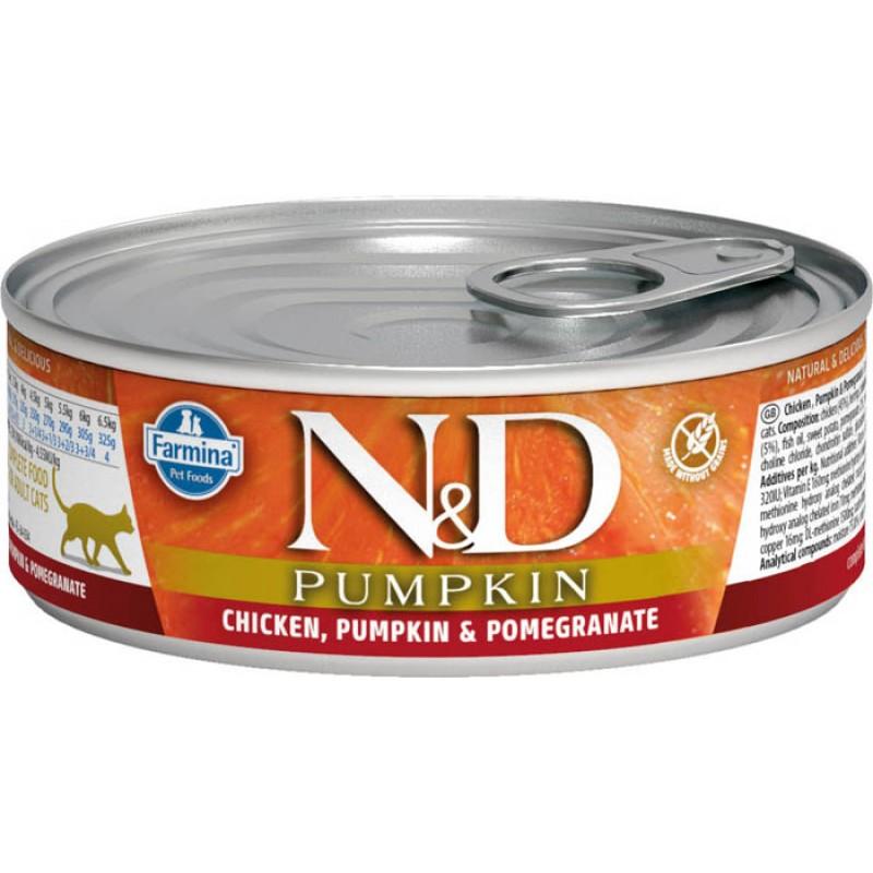 Влажный корм для кошек Farmina N & D Chicken, Pumpkin & Pomegranate с курицей, гранатом и тыквой 0,08 кг