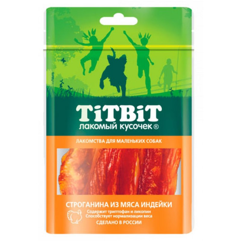 Лакомство для собак Titbit Строганина Из Мяса Индейки 0,05 кг