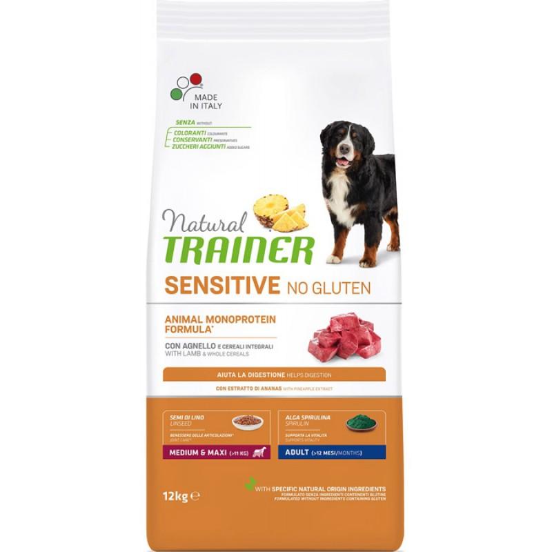 Сухой корм для собак Trainer Sensitive No Gluten Medium&Maxi Adult Lamb для крупных и средних пород с ягненком 12 кг