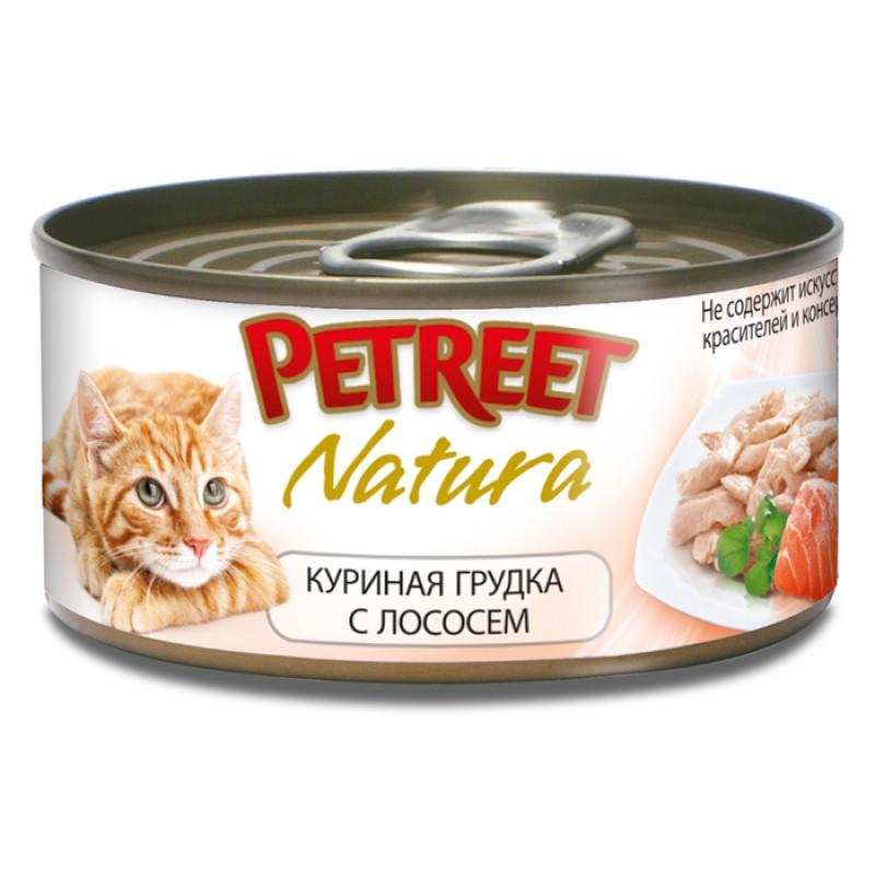 Влажный корм для кошек Petreet Куриная грудка с лососем 0,07 кг
