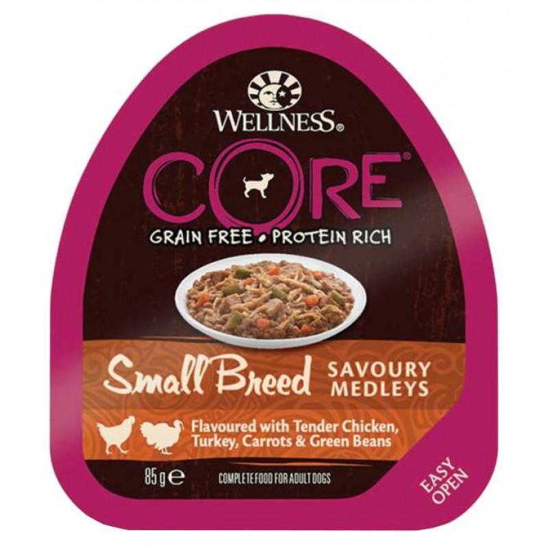 Влажный корм для собак Wellness Core Small Breed Аппетитное Попурри Из Нежного Куриного Филе с Индейкой Морковью и Зеленой Фасолью 0,085 кг