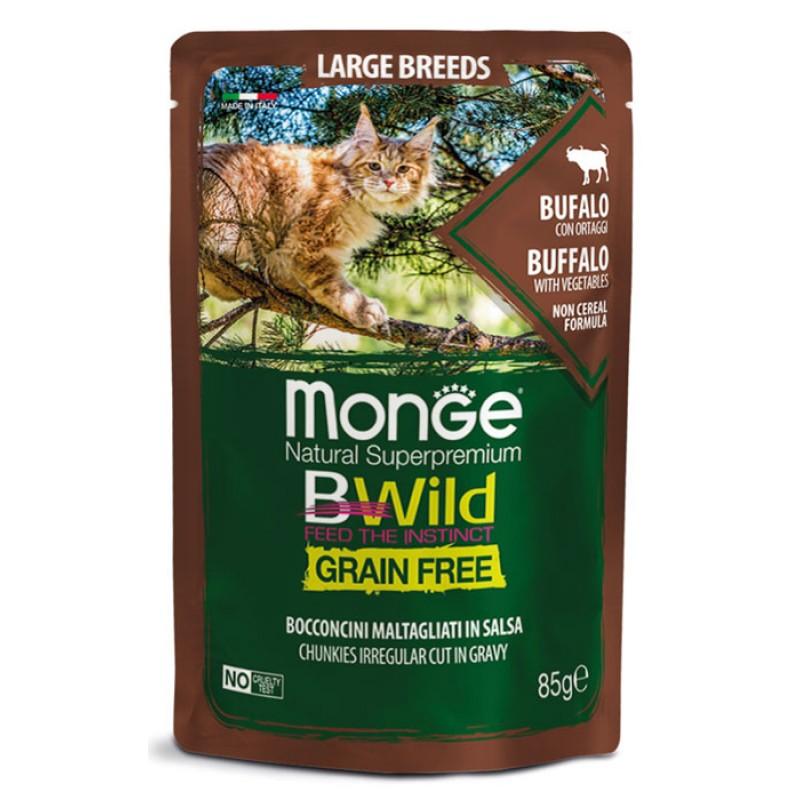 Влажный корм для кошек Monge Bwild Grain free из мяса буйвола с овощами для крупных пород пауч 0,085 кг