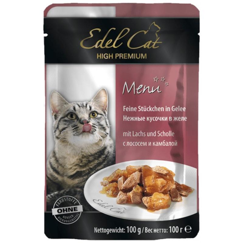 Влажный корм для кошек Edel Cat нежные кусочки в желе пауч с лососем и камбалой 0,1 кг