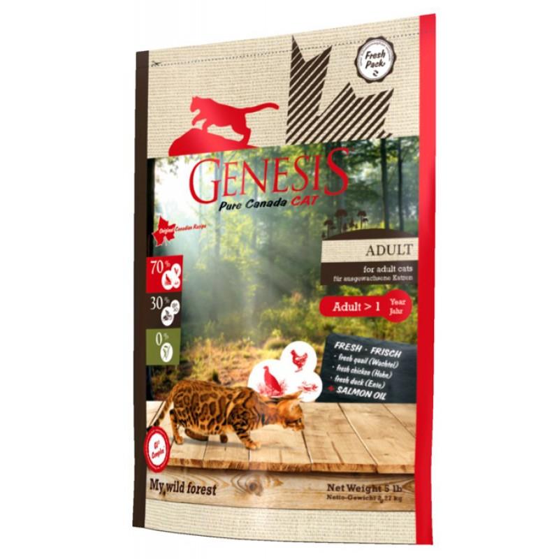 Сухой корм для кошек Genesis Pure Canada My Wild Forest Adult с уткой, перепелкой и курицей 2,268 кг