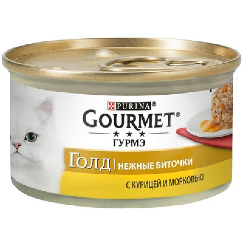 Влажный корм для кошек Gourmet Gold Нежные биточки с курицей и морковью 0,085 кг