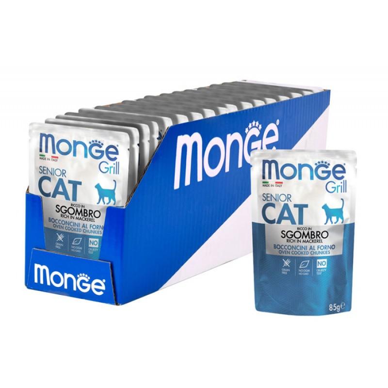 Влажный корм для кошек Monge Cat Grill Pouch для пожилых эквадорская макрель пауч 0,085 кг
