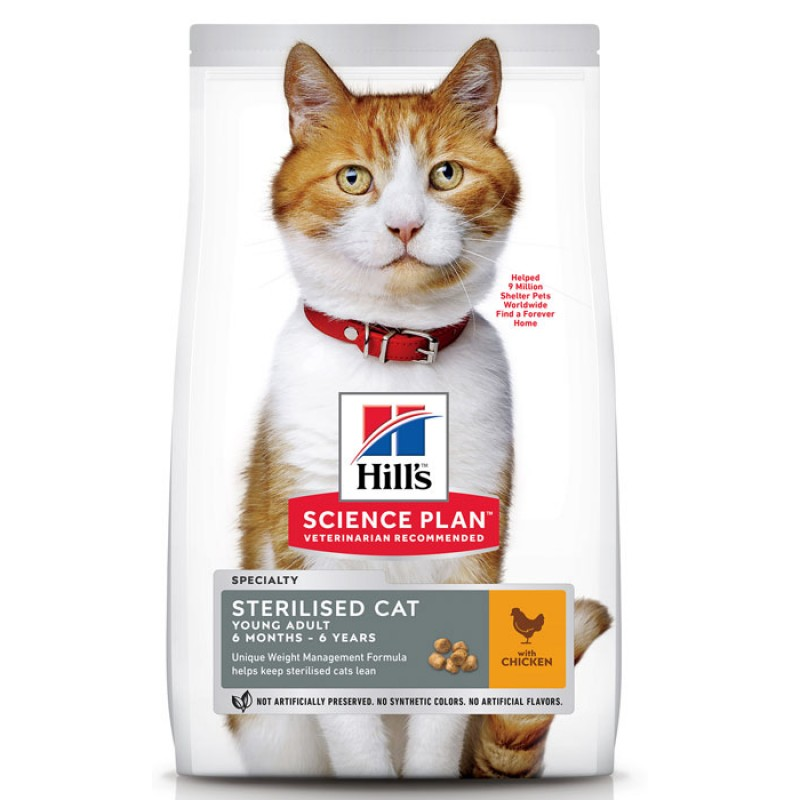 Сухой корм для кошек Hills Science Plan Sterilised Cat Young Adult Chicken 10 кг