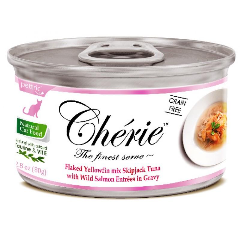 Влажный корм для кошек Pettric Cherie с тунцом и лососем в подливе 0,08 кг