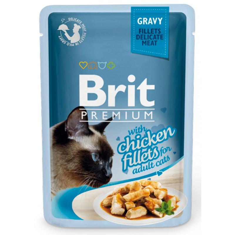 Влажный корм для кошек Brit Gravy Chiсken Fillets 0,085 кг