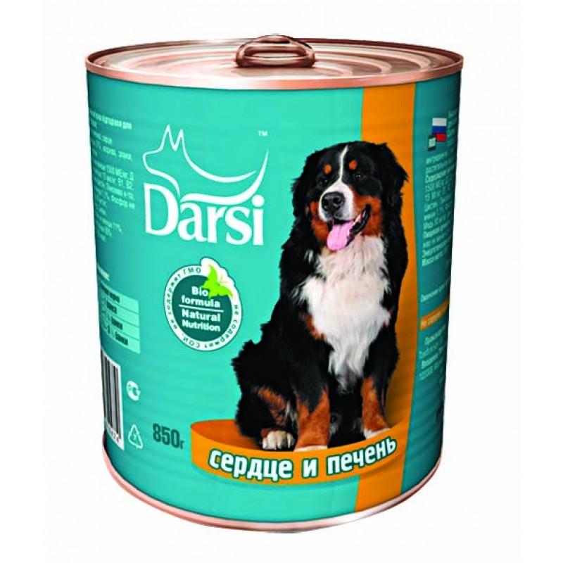 Влажный корм для собак Darsi Сердце с печенью 0,85 кг