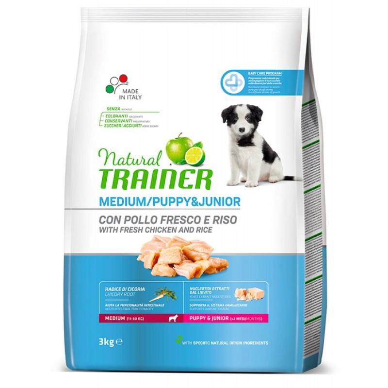 Сухой корм для щенков Trainer Natural Puppy&Junior Medium 3 кг